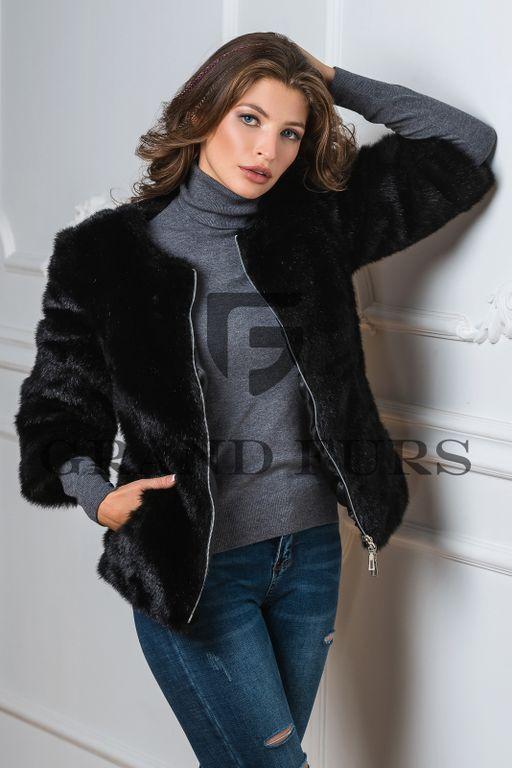 Короткий черный полушубок из искусственного меха - Grand Furs