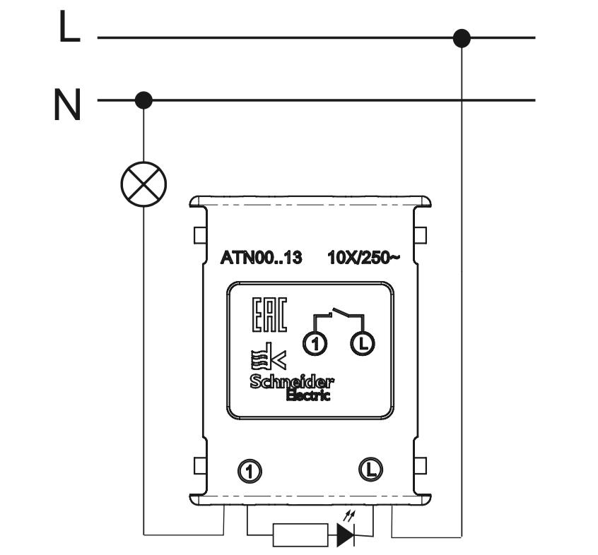 схема подключения одноклавишного выключателя с подсветкой Schneider Electric серии Atlas Design.