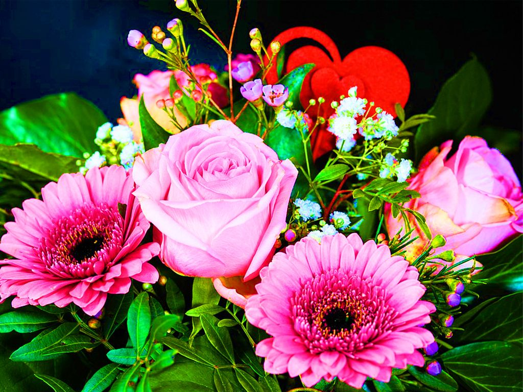 Букеты с сердечками, доставка подарков и цветов в гродно незабудка