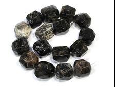 Бусина Коралл черный, окаменелый, крупная грань 20-22 мм (1 шт) №19570