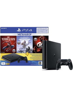 Sony PS4 1TB + Horizon Zero Dawn + Spider-Man + GTS (CUH-2208B)