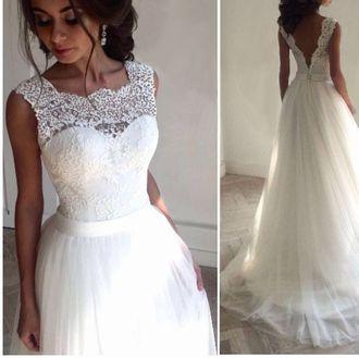9a14e075373 Самое красивое модное свадебное платье с открытой спиной и длинной ...