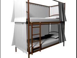 Кровать двухъярусная МилСон Хостел Duo со шторками с трех сторон