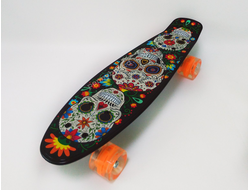 Пенни борд Painted skulls светящиеся колеса (Penny board, ABEC 7, light)