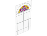 Glass for Window 1 x 4 x 6 with White Lattice, Magenta Hearts and Medium Lavender and Magenta Stylized Flower Pattern, Trans-Clear (57895pb039 / 6172689)