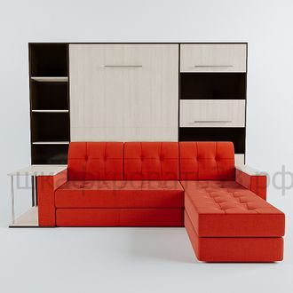 шкаф кровать с угловым диваном и столом 140х200