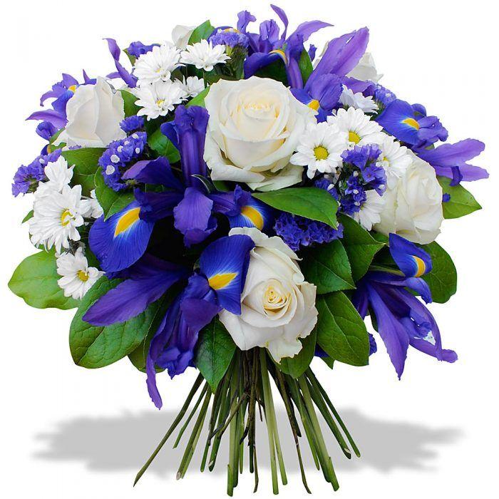 Свадебный букет голубые ирисов и роз, букеты цветов