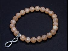 Браслет Лунный камень Персиковый, шар 8 мм, Индия (размер 17 см, вес 17 г) №17267