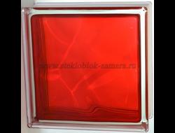 Стеклоблок Vitrablok окрашенный внутри волна рубиновый