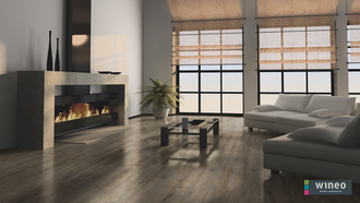 Виниловый пол Wineo 400 Wood Embrace Oak Grey DLC00110 в интерьере