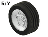 ! Б/У - Wheel 81.6 x 34 Six Spoke with Black Tire 81.6 x 34 ZR Technic Straight Tread 2998 / 2997, White (2998c01) - Б/У