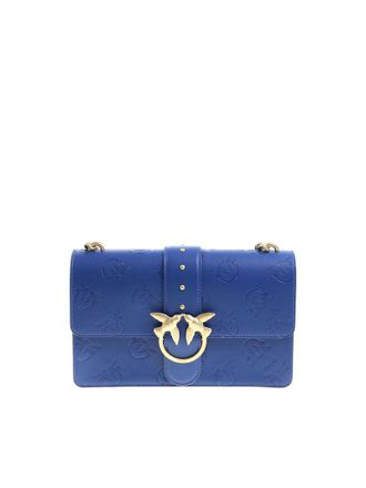 Pinko Love Bag Blue Leather with embossed logo