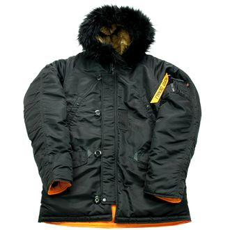 Куртка Аляска Husky SHORT Black/orange (опушка Black FUR)