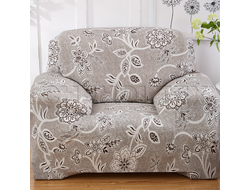 Чехол Принт на кресло, Цветы Бежевые