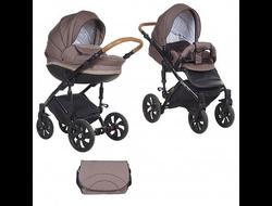 Универсальная коляска Tutis Mimi Style (2 в 1) Цвет Кофейный лен/коричневый букле/кожа шоколад