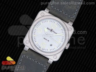 BR 03-92 Horolum Gray Dial on Gray Leather Strap
