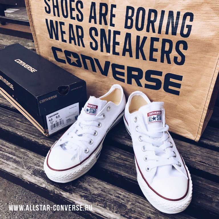 Белые низкие кеды Converse All Star Optical White - M7652 2eb245dd06df0