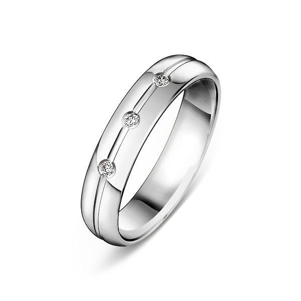 f5d055a1a6cd Обручальное кольцо из белого золота с 3 бриллиантами 7-0006 б