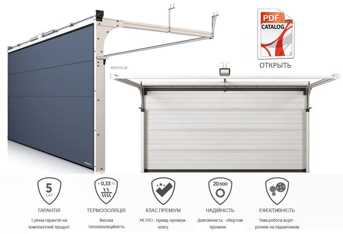 Изготовление и установка - гаражные секционные ворота из сендвич панели 60 мм от завода wisniowski