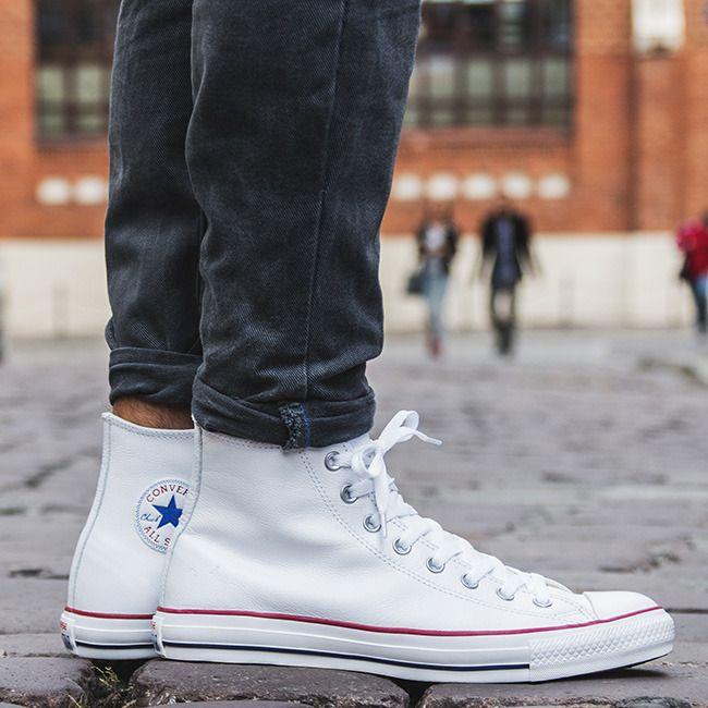 Кожаные кеды Converse на ноге. Кожаные кеды Converse белые высокие ec23fa842a8f7