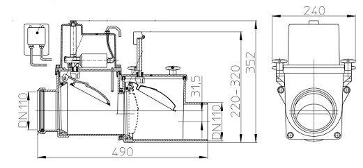 Канализационный затвор hl 710.2 epc с электроприводом размеры