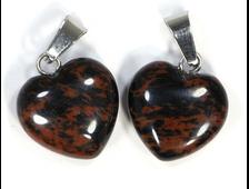 Кулон сердце Обсидиан коричневый в ассортименте, Армения (16*15*7 мм, 2,5 г) №19272
