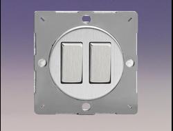 Двухклавишный  выключатель/переключатель 10А, Brushed Steel/матовая сталь (механизм)