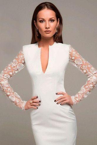 70173061572 Белое платье-футляр с кружевными рукавами купить в интернет-магазине ...