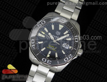 Aquaracer Calibre 5 Black SS MKF 1:1 Best Edition Textured Dial Ceramic Bezel on SS Bracelet