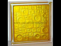 Стеклоблок Vitrablok окрашенный внутри губка медовый