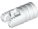 Hinge Cylinder 1 x 2 Locking with 2 Fingers, 7 Teeth and Axle Hole on Ends without Slots, White (57360 / 6271540)