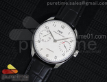 Portuguese Real PR IW5001 SS YLF 1:1 Best Edition All White Dial SS Hands on Black Leather Strap