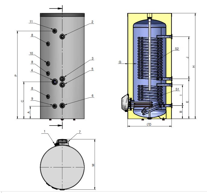 Комбинированный напольный водонагреватель с  2-мя увеличенными теплообменниками