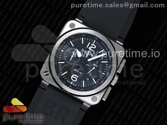 BR 03-94 Chrono SS Black Dial White Markers