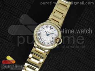 Ballon Bleu 28mm Ladies YG Silver Textured Dial on YG Bracelet