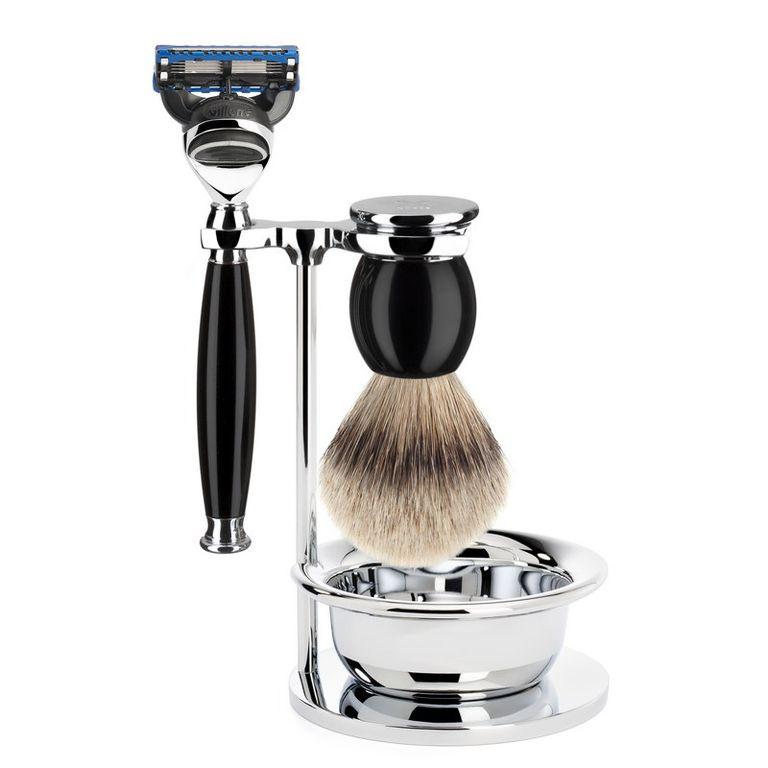 Бритвенный набор Muehle Sophist, черная смола, барсучий ворс высшей категории Silvertip, бритва Fusion, чаша