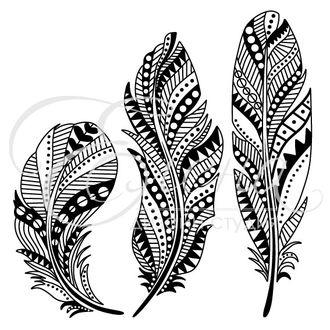 Штамп для скрапбукинга  Этно перья для раскрашивания