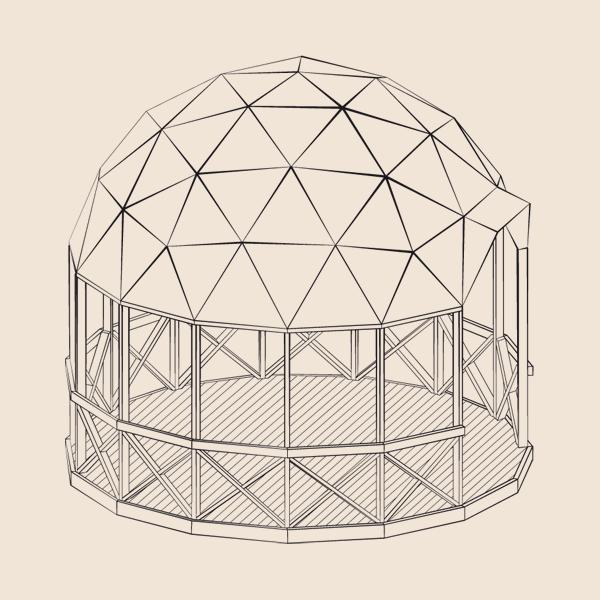 Каркас геодезической беседки, диаметр 5 метров