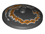 Dish 4 x 4 Inverted Radar with Solid Stud with Dragon Orange and White Pattern, Black (3960pb057 / 6230373)