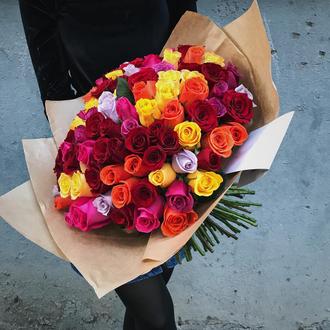 101 роза насыщенная счастьем.