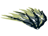 Cloth Wing Dragon Left with Black and Dark Blue Streaks Pattern, Yellowish Green (21858 / 6120006)