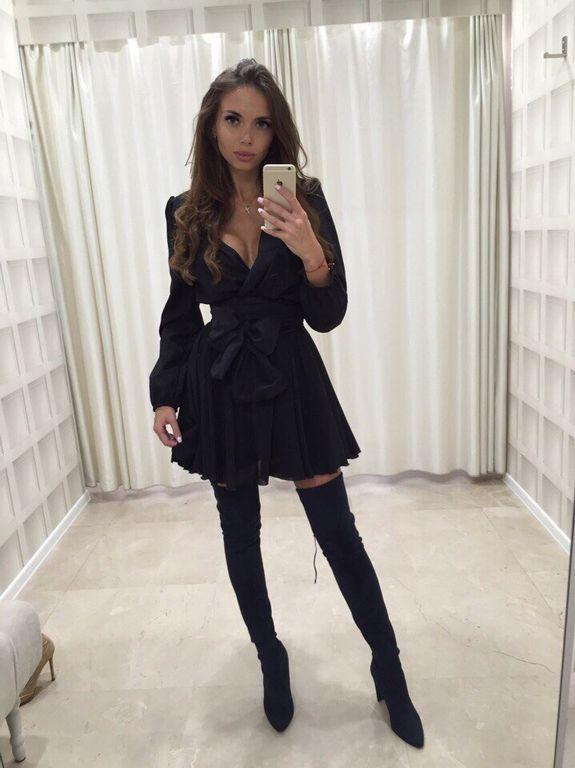a668834de9e Черное шифоновое платье с расклешенной юбкой