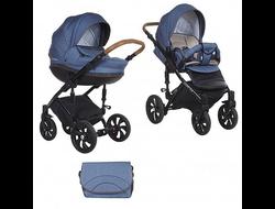 Универсальная коляска Tutis Mimi Style (2 в 1) Цвет Деним/синий букле/кожа коричневая