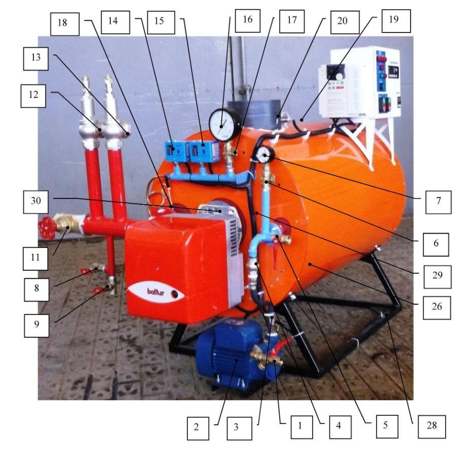 Общий вид и состав газового парогенератора ПГ