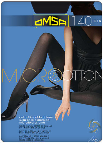 Omsa™ Micro&Cotton 140 den 5=XL (Nero)
