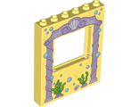 Panel 1 x 6 x 6 with Window with Pink Arch, Bubbles and Sea Grass Pattern 10723, Bright Light Yellow (15627pb009 / 6135158)