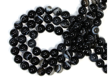 Бусины Агат черный, Бразилия, шар 10 мм, цена за 1 нить около 39 см, 38 шт (вес 55 г) №18901