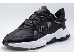 Кроссовки Adidas Originals Ozweego Black/White Leather мужские арт. AD330