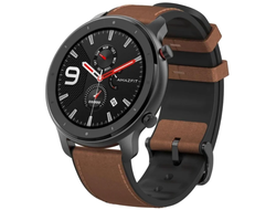 Часы Amazfit GTR 47mm aluminium case, leather strap Xiaomi A1902 коричневый ремешок EU GLOBAL VERSION (РУССКИЙ ЯЗЫК)