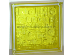 Стеклоблок Vitrablok окрашенный внутри губка желтый